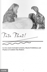 Page from 'A Microstory of Curating' MA Contemporary Art Theory, 2011